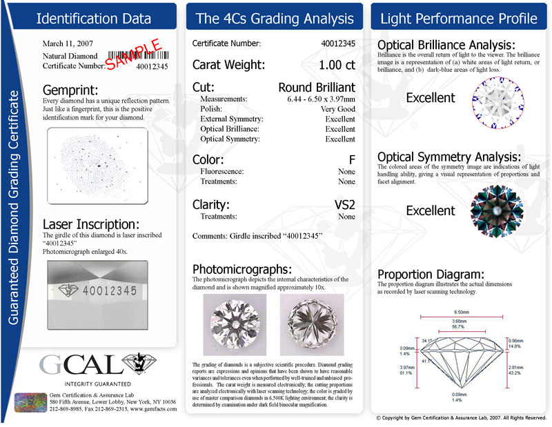Gcal Five Star Diamond Certification